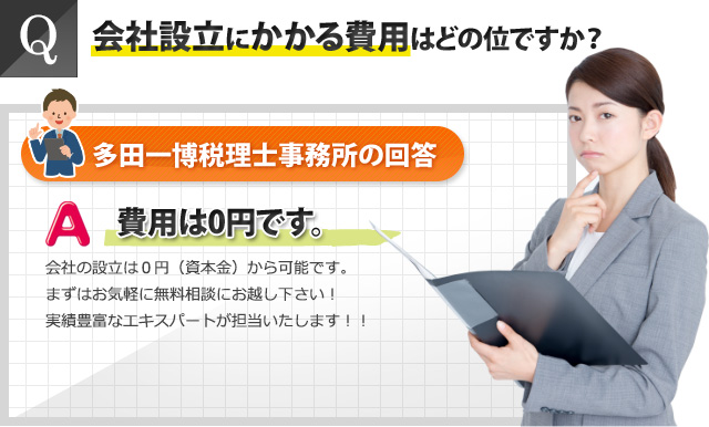 Q:会社設立にかかる費用はどの位ですか?多田一博税理士事務所の回答:費用は0円です。会社の設立は0円(資本金)から可能です。まずはお気軽に無料相談にお越しください!実績豊富なエキスパート/専門家が担当いたします。